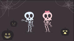 Halloween skeletons are dancing at Halloween Night. 2d animation Animation