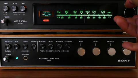 Vintage 1970's radio tuner Footage