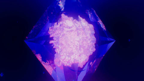 Pulsating molten mass within translucent diamond spinning in seamless loop Animation