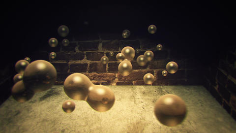 3D golden liquid droplets joining and separating in an urban alley Animation