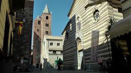 Europe Italy Liguria Albenga 007 church Santa Maria in Fontibus and cathedral Sa Footage