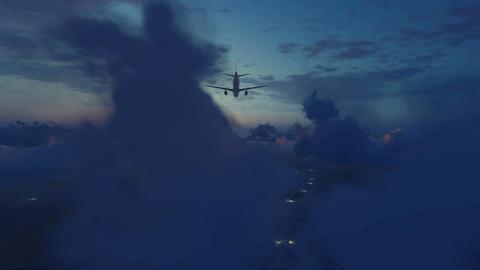 Airliner landing approach in night sky 4K Footage