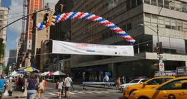 People Visit the Bastille Day Street Fair in New York City Footage