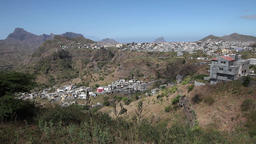 small gray city on top of hill in Cape verde, Africa Footage