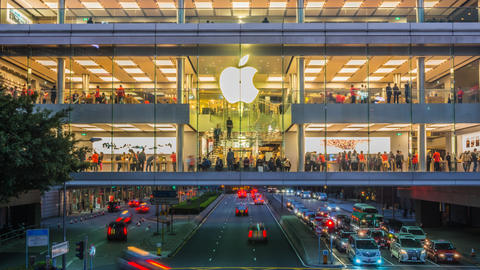 People in Apple Store Timelapse Footage