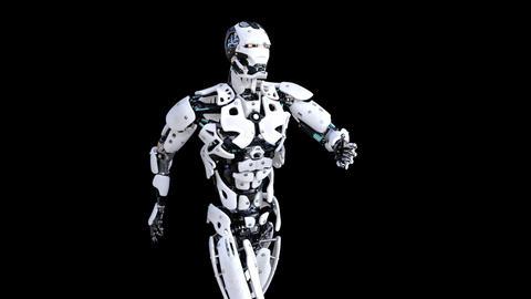 cyborg robot walking , transparent background, animation Live Action