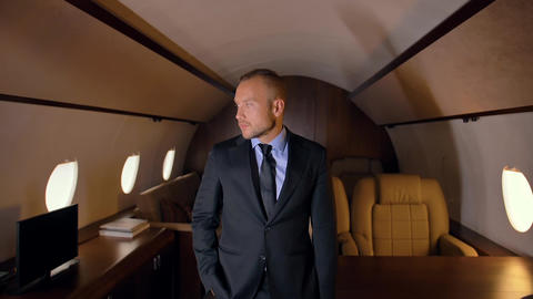 Business person portrait in private jet Footage