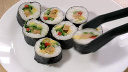 Plate of sushi. Sushi serving Live Action