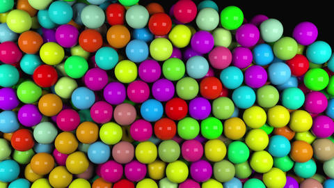 Many abstract colorful glossy balls fall, 3d render computer generated Live Action