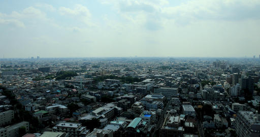 Panoramic view at the urban city in Nerima Tokyo daytime wide shot Footage