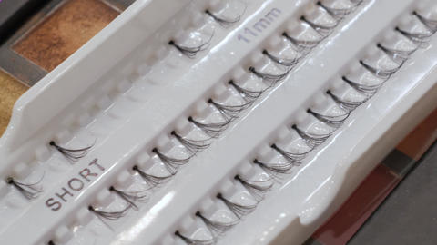 rows of artificial eyelashes Footage