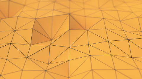 0973 Orange low poly displaced surface with black lines Animation