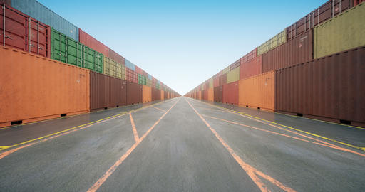 Endless stacks of cargo shipping containers under blue sky Animation