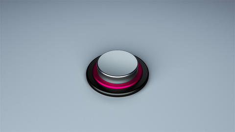 Round push button bordered by a metallic ring - object for design, 3d rendering Footage