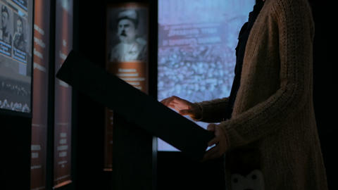 Woman using interactive touchscreen display Footage