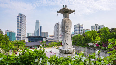 Timelapse of Bongeunsa Temple at Gangnam City,Seoul Korea Live Action