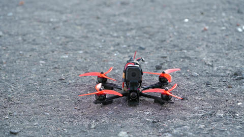 Male pilot takeing off FPV freestyle drone in the air Footage