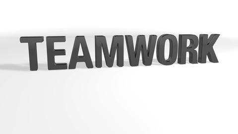 Word TEAMWORK is transformed into word SUCCESS through a dissolution of particles while the camera Animation