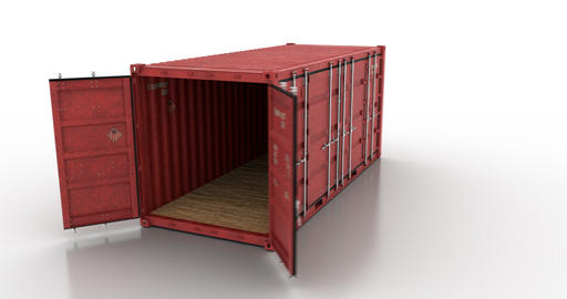 Around cargo shipping container on white background Animation