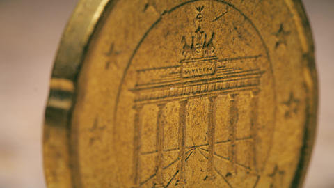 Famous Brandenburg Gate in Berlin on German 20 Euro cents coin, macro shot Footage