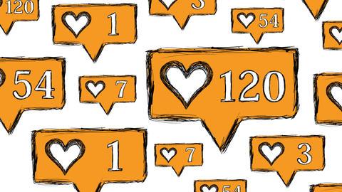 Likes set orange on white Animation
