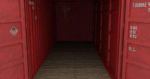 Cargo shipping container doors opening against white background Animation