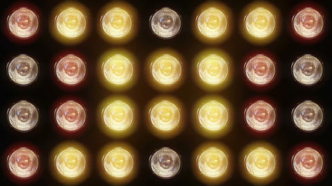 Wall of flashing lights and bright spotlights Animation