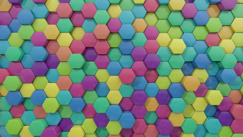 3d animated hexagon random color combination GIF