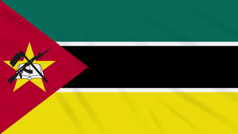 Mozambique flag waving cloth background, loop Animation