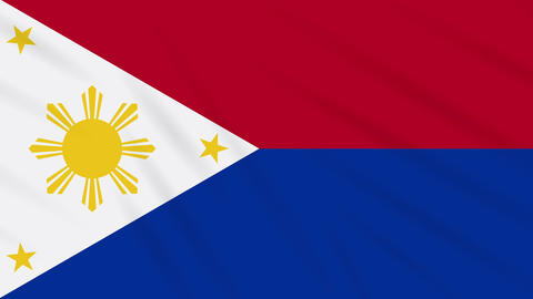 Philippines flag in wartime waving cloth, loop Animation