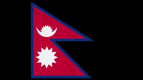Nepal flag waving cloth on transparent alpha, loop Animation