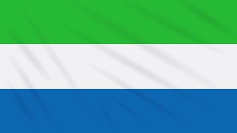 Sierra Leone flag waving cloth background, loop Animation