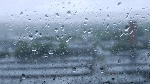 Rain Drops on Clear Window Footage