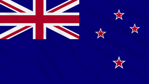 New Zealand flag waving cloth background, loop Animation