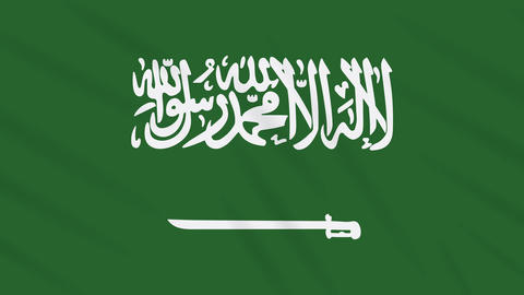 Saudi Arabia flag waving cloth background, loop Animation