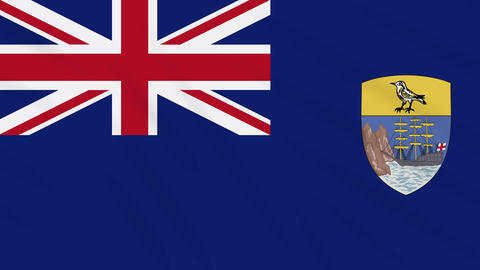 Saint Helena flag waving cloth background, loop Animation