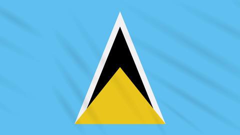 Saint Lucia flag waving cloth background, loop Animation