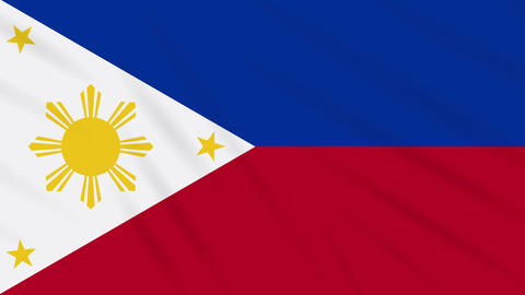 Philippines flag in peacetime waving cloth, loop Animation