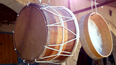 Traditional Handmade Drums Footage