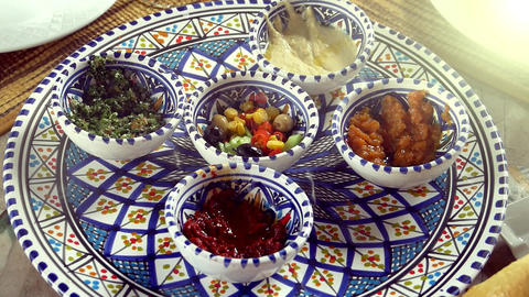 Traditional Arabic Cuisine Snacks In Porcelain Plates Live Action