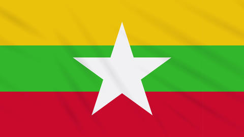 Myanmar flag waving cloth background, loop Animation