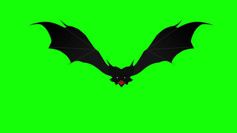 Scary bat hovering against green background. Halloween background Animation