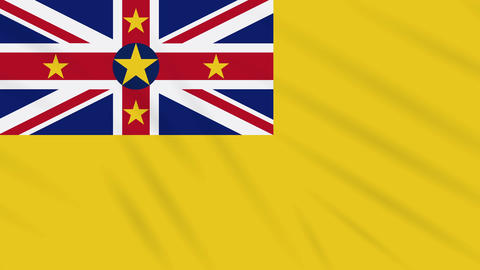 Niue flag waving cloth background, loop Animation