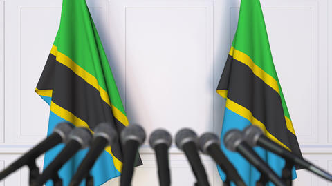 Tanzanian official press conference. Flags of Tanzania and microphones Live Action