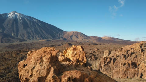Aerial view of Teide volcano, Tenerife, Canary islands, Spain. Flight over Footage