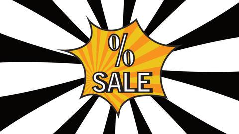 Sale pop art animation Rotation rays Text sale white rays…, Stock Animation