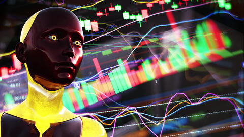 4K Artificial Intelligence Algorithm Trading Stock Market Concept 4 Animation