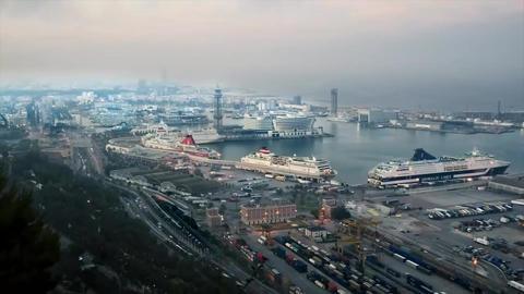 Port of Barcelona. Sunset Footage