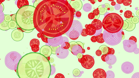 seamless loop of salad from sliced tomatoes, cucumbers and onions falling down Animation