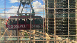 Reflection of Roosevelt Island Tramway Car in Manhattan Building Footage